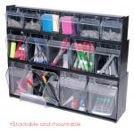 Tilt Bin® Interlocking Storage Bins, 4-Bin Unit, Black
