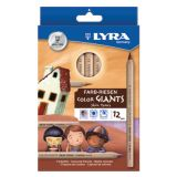 Lyra Color Giant Colored Pencils, 6.25mm, Skin Tones, 12 Colors