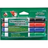Ticonderoga® Dry Erase Markers, Chisel Tip, 4 Assorted Colors