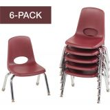 Stackable School Chairs w/Chrome Legs, 10 Seat Height, Burgundy, Nylon Swivel Glides, Carton of 6