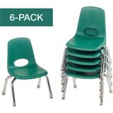 Stackable School Chairs w/Chrome Legs, 10 Seat Height, Green, Nylon Swivel Glides, Carton of 6