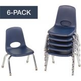 Stackable School Chairs w/Chrome Legs, 10 Seat Height, Navy, Nylon Swivel Glides, Carton of 6