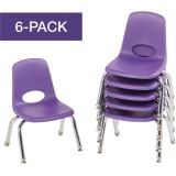 Stackable School Chairs w/Chrome Legs, 10 Seat Height, Purple, Nylon Swivel Glides, Carton of 6