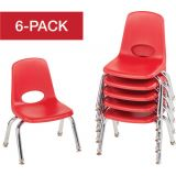 Stackable School Chairs w/Chrome Legs, 10 Seat Height, Red, Nylon Swivel Glides, Carton of 6