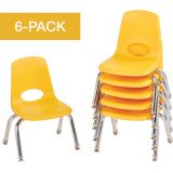 Stackable School Chairs w/Chrome Legs, 10 Seat Height, Yellow, Nylon Swivel Glides, Carton of 6