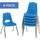 Stackable School Chairs w/Chrome Legs, 12 Seat Height, Blue, Nylon Swivel Glides, Carton of 6