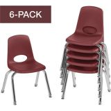 Stackable School Chairs w/Chrome Legs, 12 Seat Height, Burgundy, Nylon Swivel Glides, Carton of 6