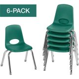 Stackable School Chairs w/Chrome Legs, 12 Seat Height, Green, Nylon Swivel Glides, Carton of 6