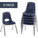 Stackable School Chairs w/Chrome Legs, 12 Seat Height, Navy, Nylon Swivel Glides, Carton of 6