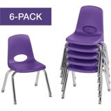 Stackable School Chairs w/Chrome Legs, 12 Seat Height, Purple, Nylon Swivel Glides, Carton of 6