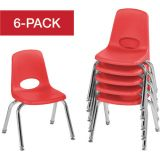 Stackable School Chairs w/Chrome Legs, 12 Seat Height, Red, Nylon Swivel Glides, Carton of 6