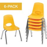 Stackable School Chairs w/Chrome Legs, 12 Seat Height, Yellow, Nylon Swivel Glides, Carton of 6