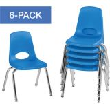 Stackable School Chairs w/Chrome Legs, 14 Seat Height, Blue, Nylon Swivel Glides, Carton of 6