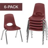 Stackable School Chairs w/Chrome Legs, 14 Seat Height, Burgundy, Nylon Swivel Glides, Carton of 6