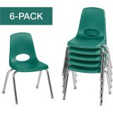 Stackable School Chairs w/Chrome Legs, 14 Seat Height, Green, Nylon Swivel Glides, Carton of 6