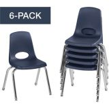 Stackable School Chairs w/Chrome Legs, 14 Seat Height, Navy, Nylon Swivel Glides, Carton of 6