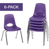 Stackable School Chairs w/Chrome Legs, 14 Seat Height, Purple, Nylon Swivel Glides, Carton of 6