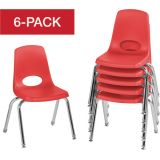 Stackable School Chairs w/Chrome Legs, 14 Seat Height, Red, Nylon Swivel Glides, Carton of 6