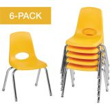 Stackable School Chairs w/Chrome Legs, 14 Seat Height, Yellow, Nylon Swivel Glides, Carton of 6