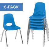 Stackable School Chairs w/Chrome Legs, 16 Seat Height, Blue, Nylon Swivel Glides, Carton of 6