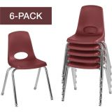 Stackable School Chairs w/Chrome Legs, 16 Seat Height, Burgundy, Nylon Swivel Glides, Carton of 6