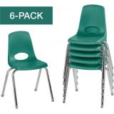 Stackable School Chairs w/Chrome Legs, 16 Seat Height, Green, Nylon Swivel Glides, Carton of 6