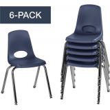 Stackable School Chairs w/Chrome Legs, 16 Seat Height, Navy, Nylon Swivel Glides, Carton of 6