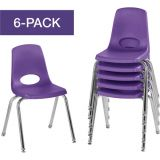 Stackable School Chairs w/Chrome Legs, 16 Seat Height, Purple, Nylon Swivel Glides, Carton of 6