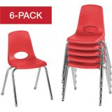 Stackable School Chairs w/Chrome Legs, 16 Seat Height, Red, Nylon Swivel Glides, Carton of 6