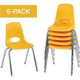 Stackable School Chairs w/Chrome Legs, 16 Seat Height, Yellow, Nylon Swivel Glides, Carton of 6
