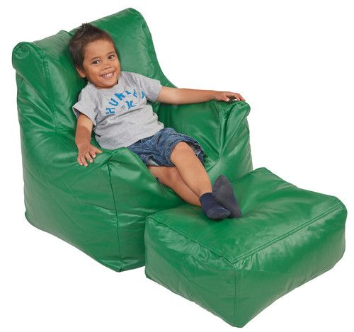 SoftZone® Bean Bag Chair U0026 Ottoman Set, Green