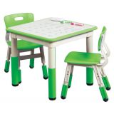 Square Resin Dry Erase Activity Table and 2 Adjustable Chairs, Green