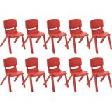 12 Resin Chair - Red, Case Pack of 10.