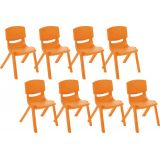 14 Resin Chair - Orange, Case Pack of 8.