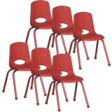 Stackable School Chair w/Matching Legs, 16 seat height, Red, Carton of 6