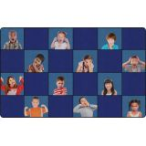 Social Emotional Seating Rug, 7'6 x 12' Rectangle, Primary