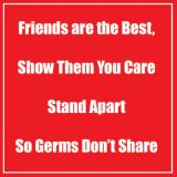 Healthy Habits 11 Square Floor Stickers 5-Pack, Friends Are the Best, Red