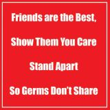 Healthy Habits 11 Square Wall Stickers 5-Pack, Friends Are the Best, Red
