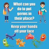 Healthy Habits 11 Square Wall Stickers 5-Pack, Keep Your Hands Off Your Face