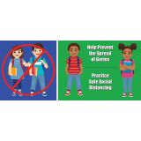 Healthy Habits 14W x 6H Floor Stickers 5-Pack, Help Prevent the Spread of Germs