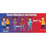 Healthy Habits 14W x 6H Floor Stickers 5-Pack, Germ Sharing is Not Caring