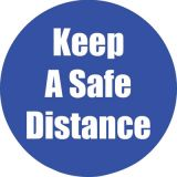 Healthy Habits 11 Round Floor Stickers 5-Pack, Keep A Safe Distance, Blue