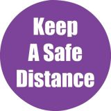 Healthy Habits 11 Round Floor Stickers 5-Pack, Keep A Safe Distance, Purple