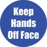Healthy Habits 11 Round Floor Stickers 5-Pack, Keep Hands Off Face, Blue