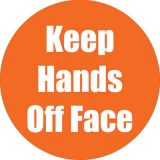 Healthy Habits 11 Round Floor Stickers 5-Pack, Keep Hands Off Face, Orange