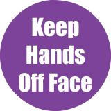 Healthy Habits 11 Round Floor Stickers 5-Pack, Keep Hands Off Face, Purple