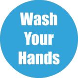 Healthy Habits 11 Round Floor Stickers 5-Pack, Wash Your Hands, Cyan
