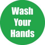 Healthy Habits 11 Round Floor Stickers 5-Pack, Wash Your Hands, Green