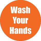 Healthy Habits 11 Round Floor Stickers 5-Pack, Wash Your Hands, Orange