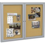Enclosed Bulletin Board, 2-Door, Natural Cork